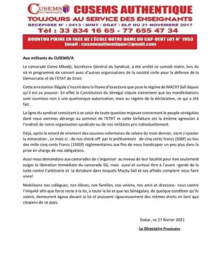 """Arrestation de Dame Mbodj : Le Cusems mobilise les enseignants, élèves et familles  contre la """"dictature"""" de Macky Sall"""